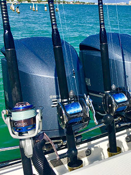 Fishing rods and reels at the stern of our fishing charter boat